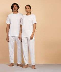 Unisex Organic Cotton Half-sleeve Sadhana T-Shirt - White