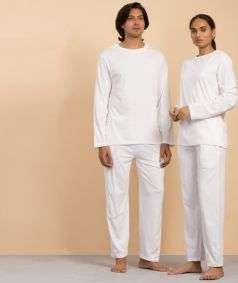 Unisex Organic Cotton Full-sleeve Sadhana T-Shirt - White