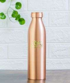 Matte Finish Copper Water Bottle with Brass Aum, 950 ml