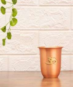 Matte Finish Copper Glass with Brass Aum, 200 ml