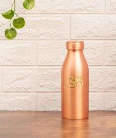 Matte Finish Copper Water Bottle with Brass Aum, 700 ml