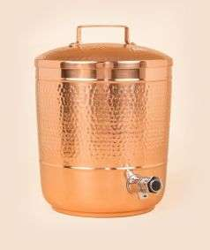 Hammered Copper Storage Pot with Iron Stand, 8 Liters