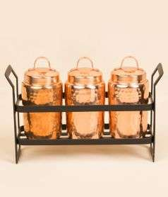 Set Of 3 Hammered Canisters  With Iron Stand