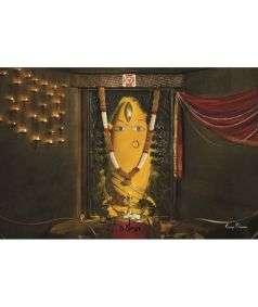Linga Bhairavi Photo - Turmeric 6x4 (With Frame)