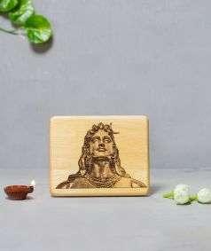 Adiyogi Engraved Wooden Photo Small