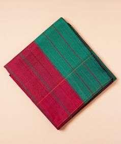 Maroon And Dark Green Koorainadu Silk Cotton Saree
