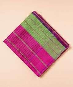 Pink And Light Green Koorainadu Silk Cotton Saree