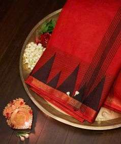 Red Cotton Saree With Black Temple Border