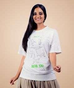 Unisex Cotton Hatha Yoga Printed T-shirt - Ecru